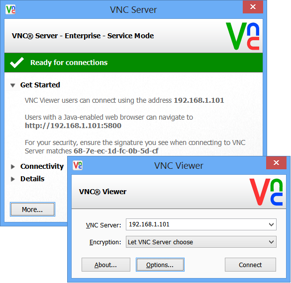 how to connect to realvnc over kalli
